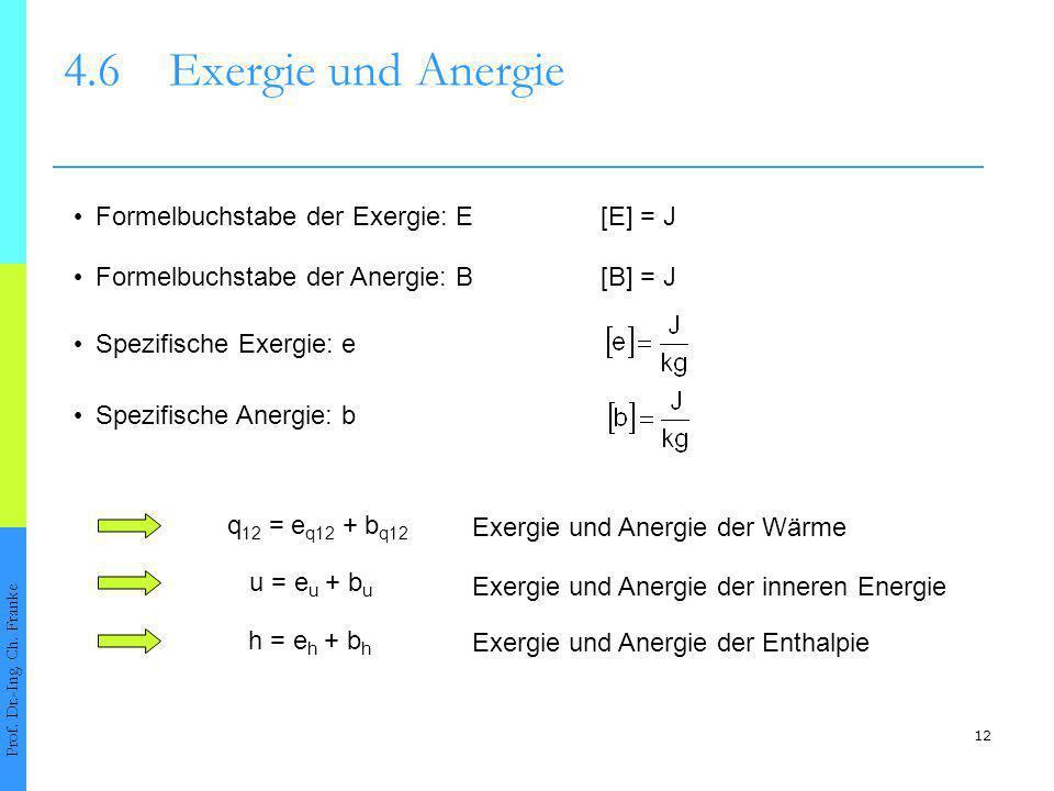 4.6 Exergie und Anergie • Formelbuchstabe der Exergie: E [E] = J